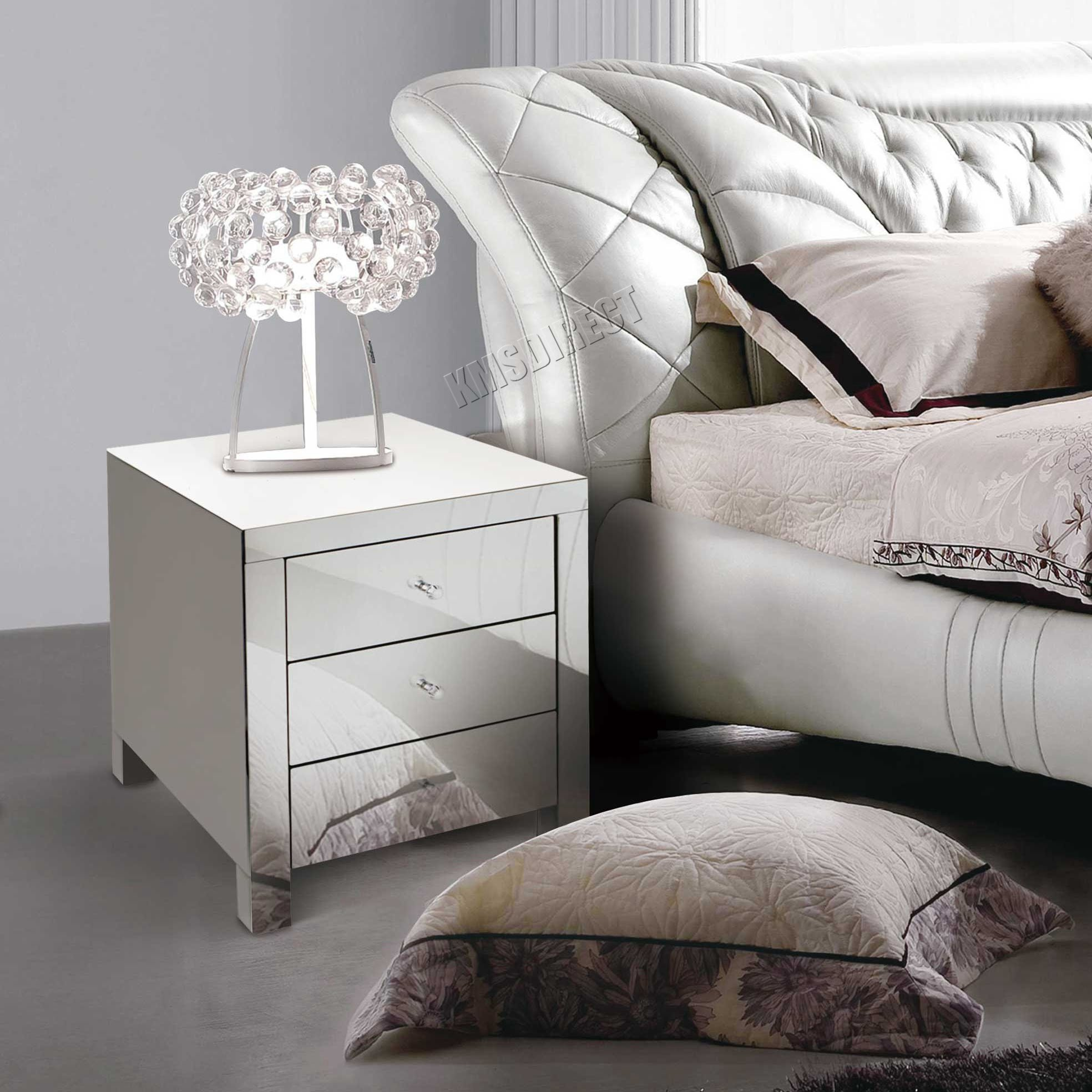 Best Foxhunter Mirrored Furniture Glass Bedside Cabinet Table With Pictures