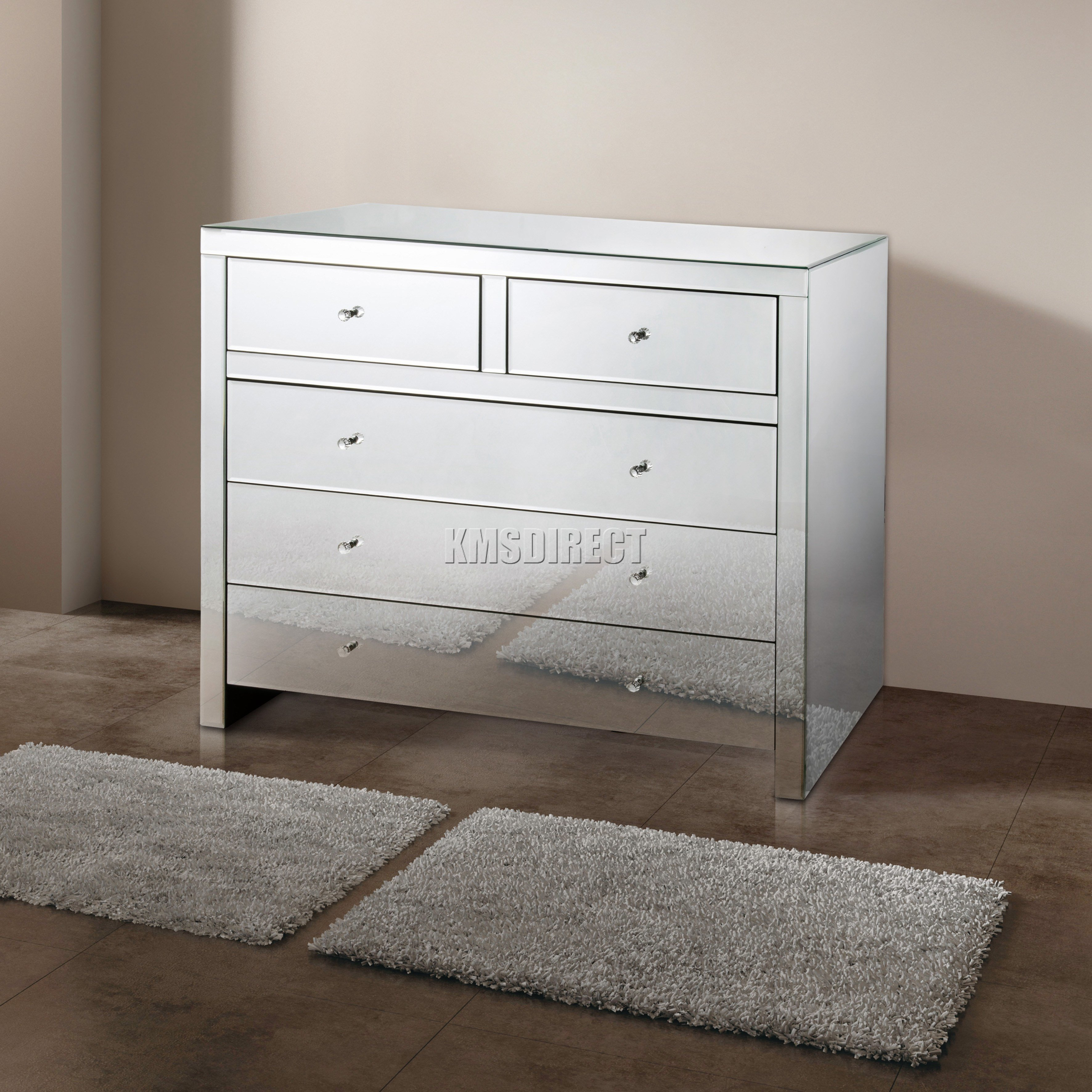 Best Foxhunter Mirrored Furniture Glass With Drawer Chest With Pictures