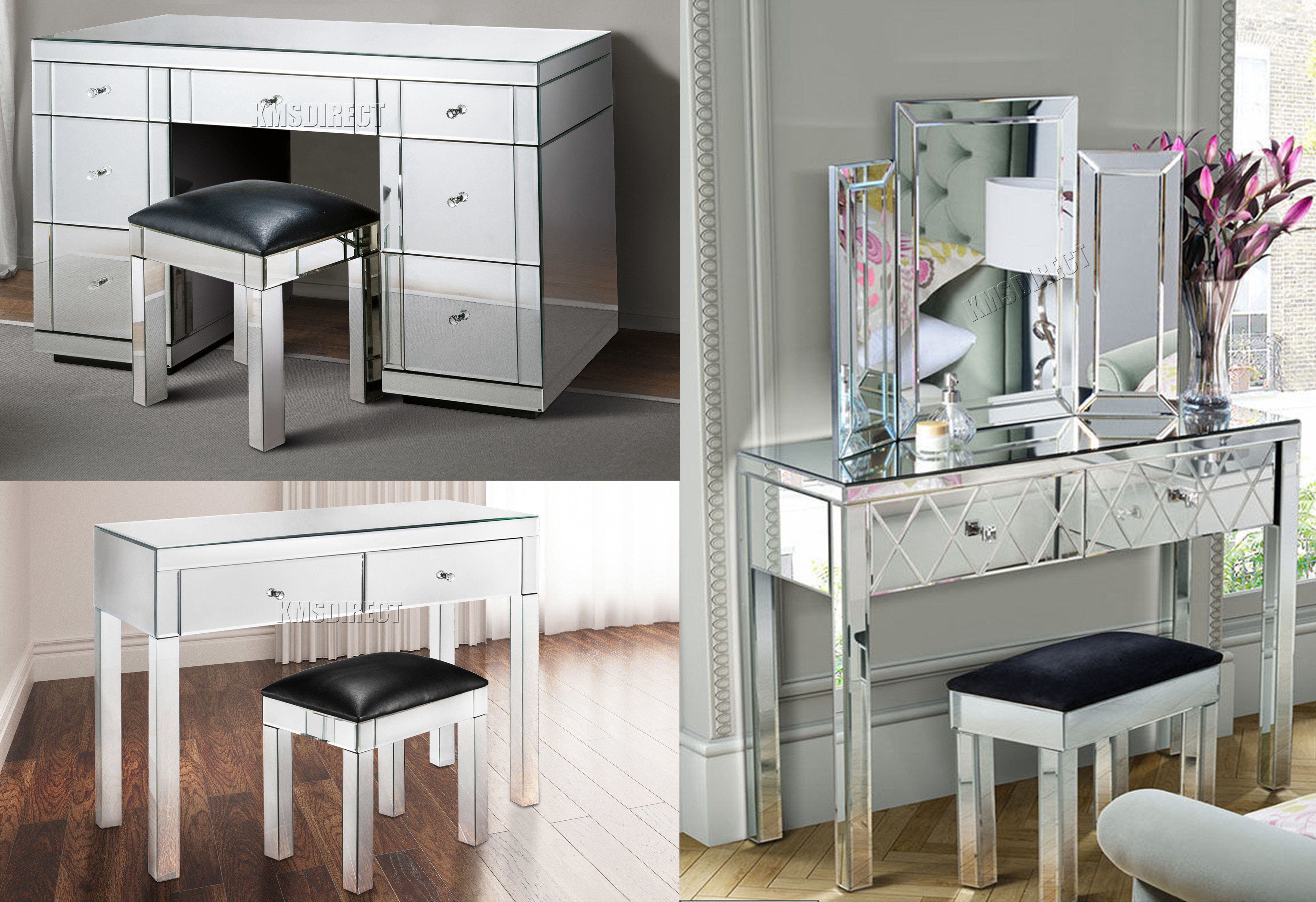 Best Westwood Mirrored Furniture Glass Dressing Table With Drawer Console Bedroom Ebay With Pictures