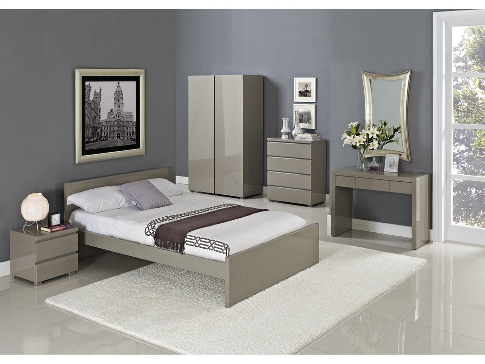 Best Puro Stone Or Cream High Gloss Bedroom Furniture Beds With Pictures