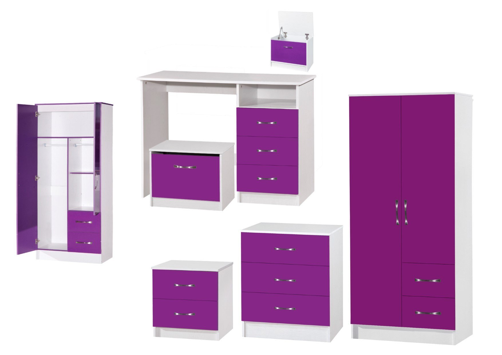 Best Marina Purple White High Gloss Bedroom Furniture Sets With Pictures