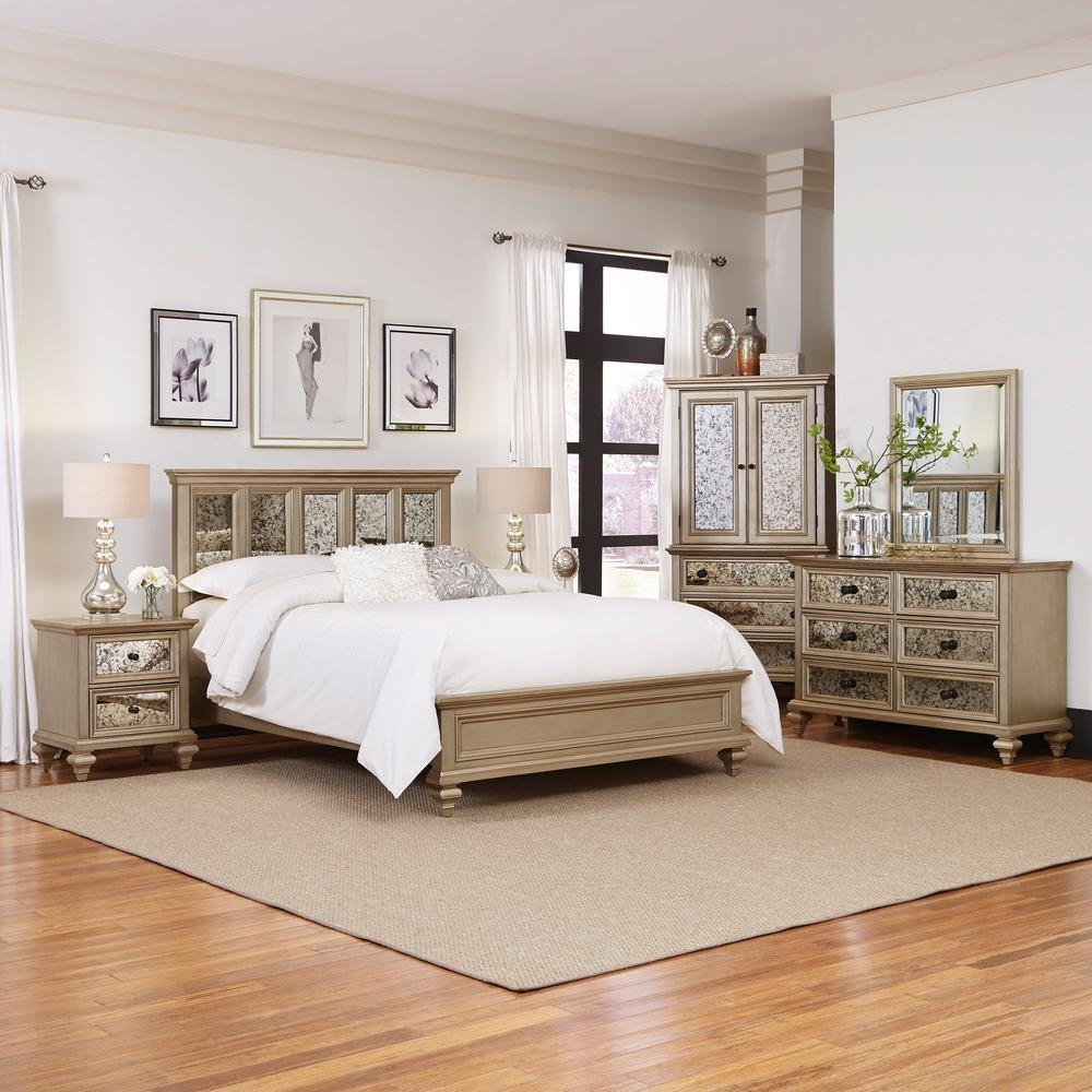 Best Home Styles Visions 5 Piece Silver Gold Champagne Finish King Bedroom Set 5576 6020 The Home Depot With Pictures