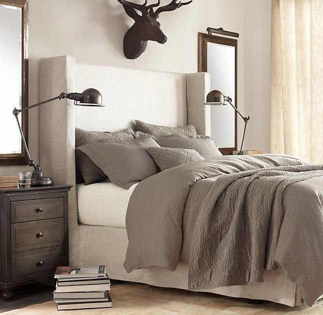 Best Belgian Shelter Slipcovered Headboard With Bed Skirt With Pictures