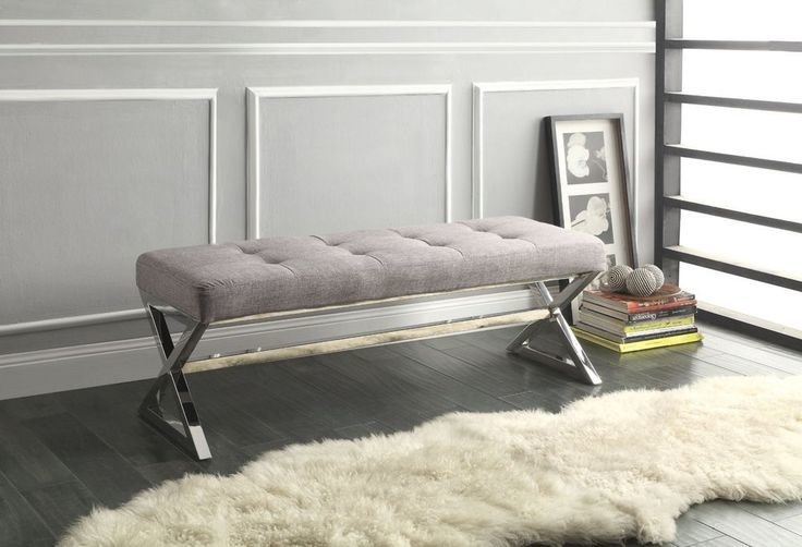 Best Tufted X Leg Bench Grey Gray Chrome Metal Ottoman Seating With Pictures