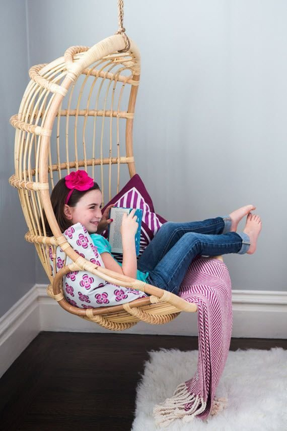 Best Rattan Hanging Chair For Reading Corner Girls Bedroom With Pictures