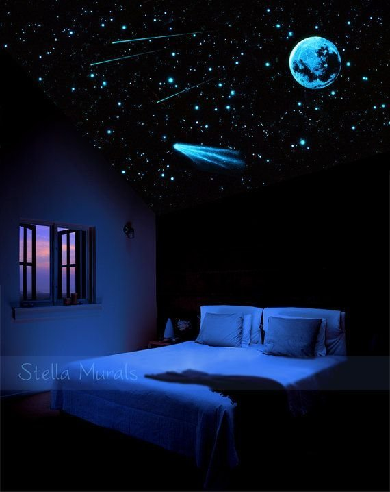 Best Night Sky Star Ceiling Moon Comet Shooting Stars Glow In The Dark Stickers And Decals With Pictures
