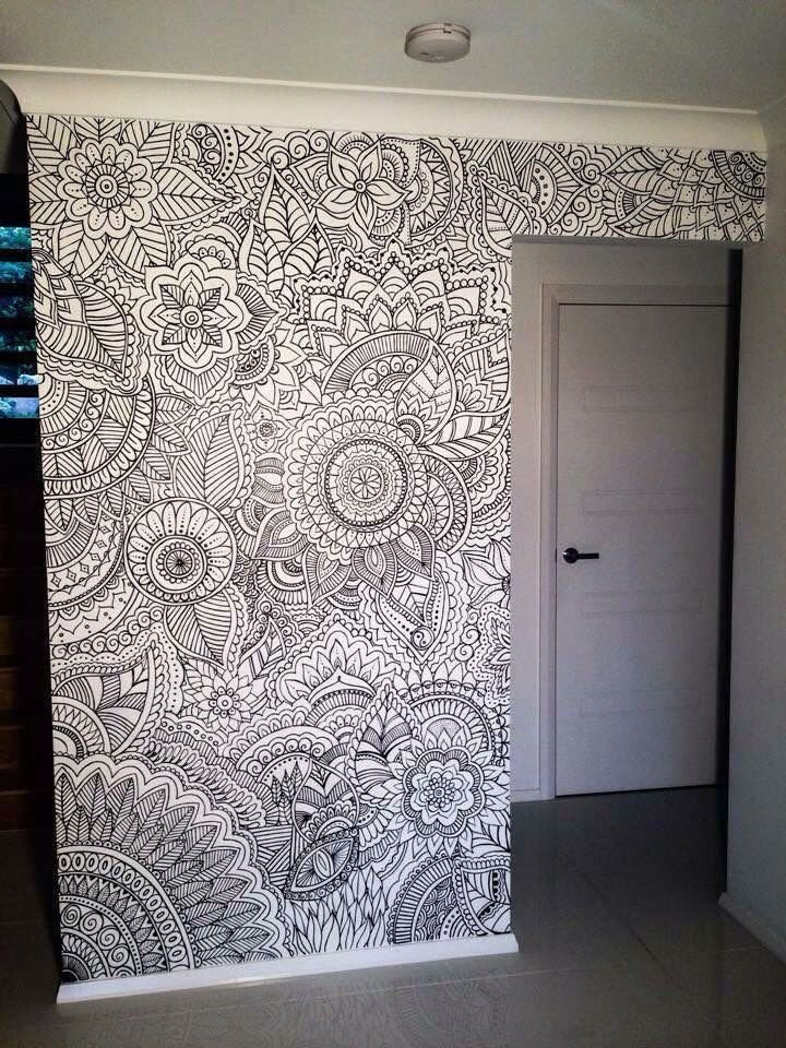 Best Henna Flower Wall Design New Room Decor In 2019 Wall With Pictures