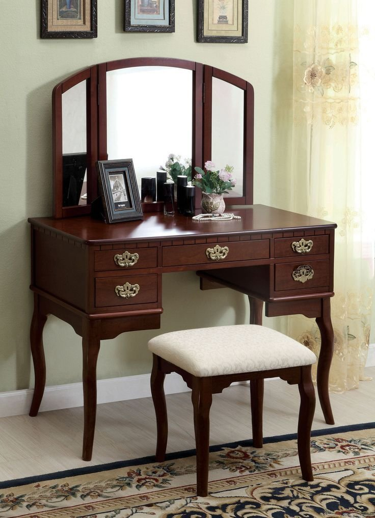 Best Furniture Of America Vanity Table In Cherry Finish Ashland With Pictures