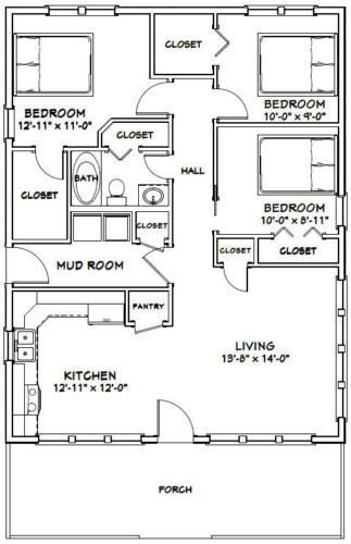 Best 28X36 House 3 Bedroom 1 Bath 1 008 Sq Ft Pdf Floor Plan With Pictures