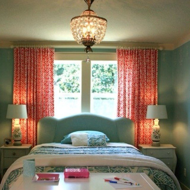 Best Teal And Coral Love The Curtains Possible Bedroom New With Pictures