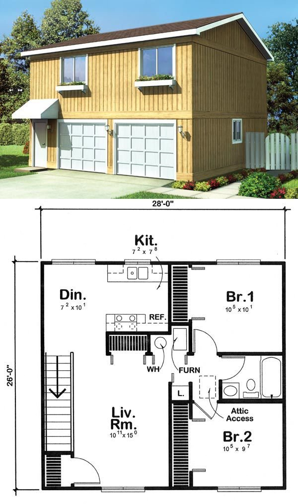 Best Garage Apartment Plan 6015 Has 728 Square Feet Of Living With Pictures