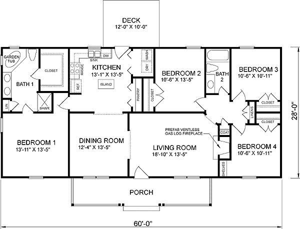 Best 4 Bedroom Ranch House Plans Plan W26205Sd Traditional With Pictures