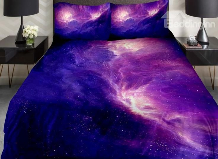 Best Amazing Dark Blue And Purple Galaxy Print 4 Piece Duvet Cover Sets Gifts Ideas For The Kids With Pictures