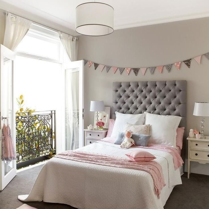 Best Pink And Gray Girl S Room Features Walls Painted A Warm With Pictures