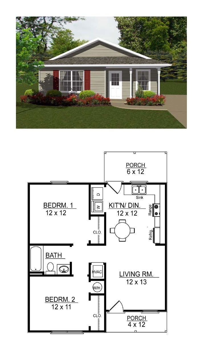 Best Tiny House Plan 96700 Total Living Area 736 Sq Ft 2 With Pictures