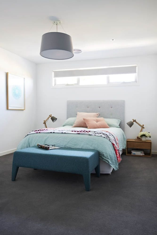 Best Dark Grey Carpet Crisp White Walls And A Pop Of Colour In With Pictures