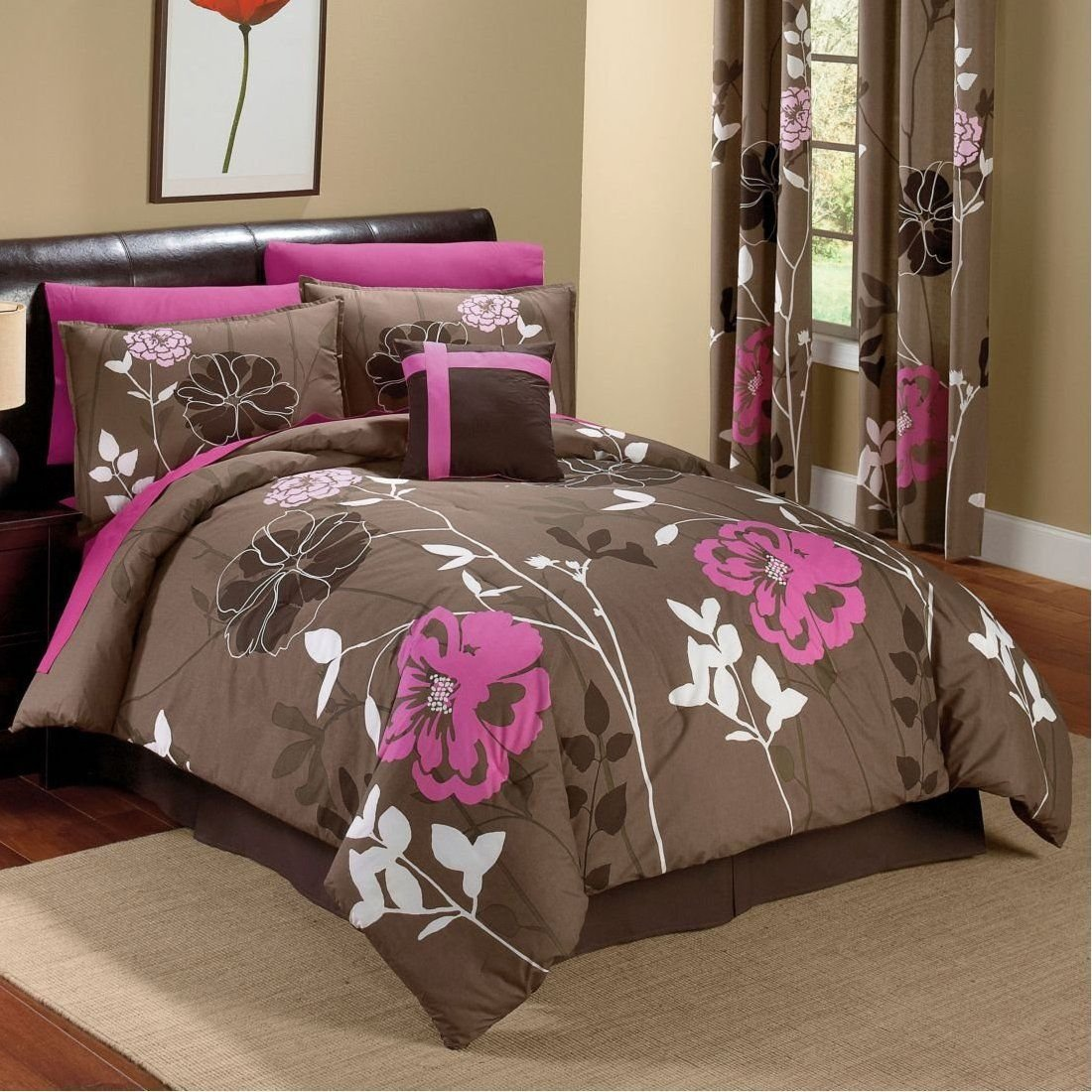Best Chocolate And Pink Floral Comforter Set For The Home With Pictures
