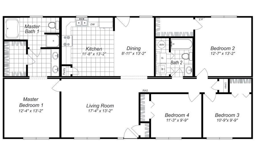 Best Modern Design 4 Bedroom House Floor Plans Four Bedroom With Pictures