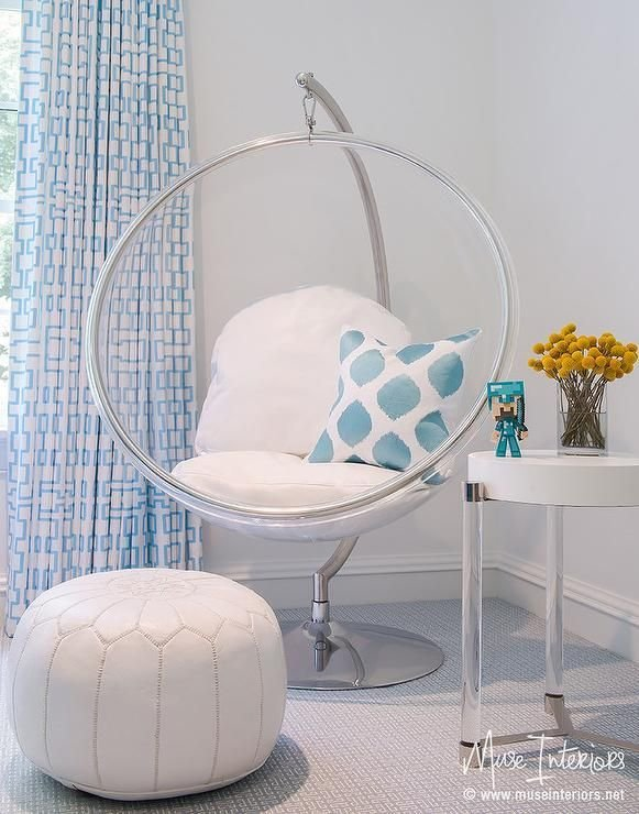 Best White And Blue Girl S Bedroom Features An Eero Aarnio With Pictures