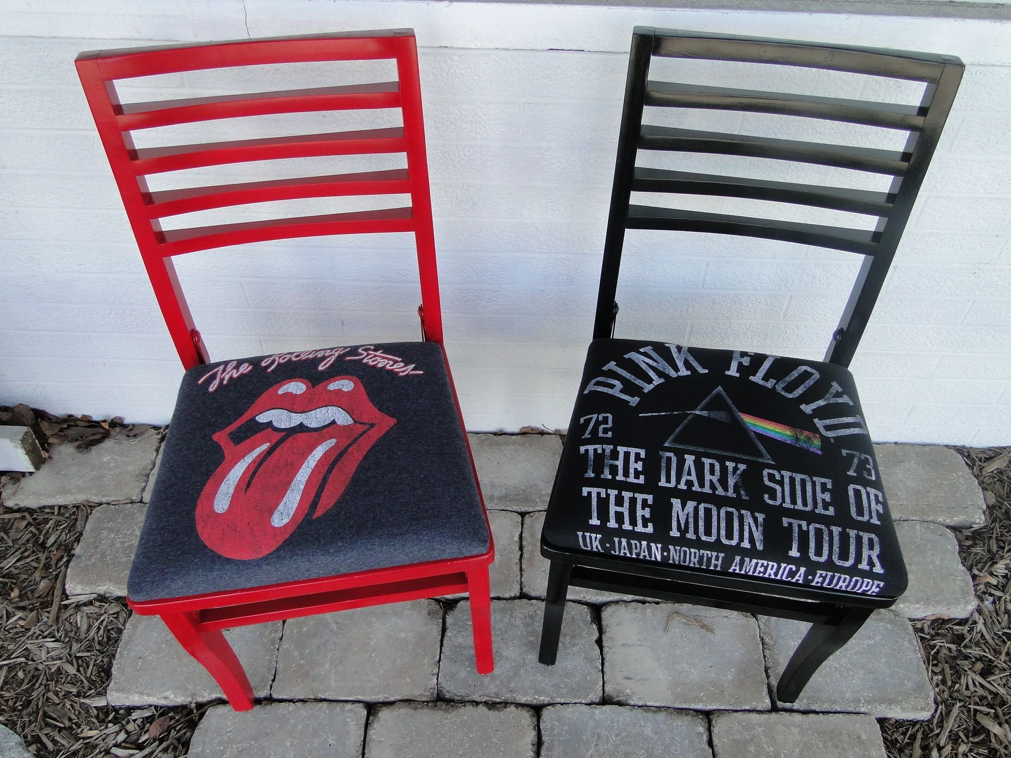 Best Rolling Stones And Pink Floyd Chairs Reupholstered In With Pictures