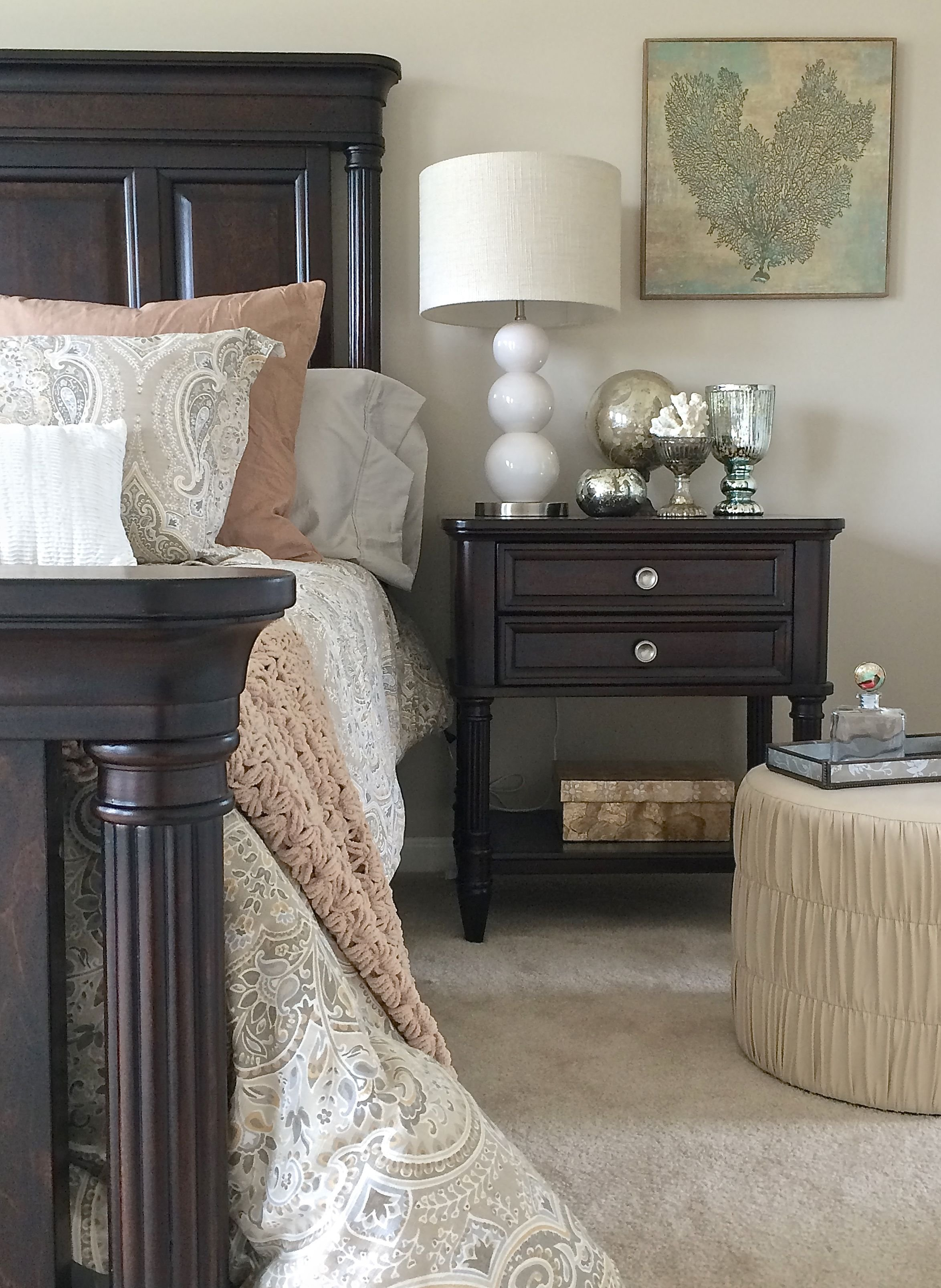 Best Looking To Lighten Up Your Dark Bedroom Furniture Try Adding New Paisley Bedding In Soft Beiges With Pictures