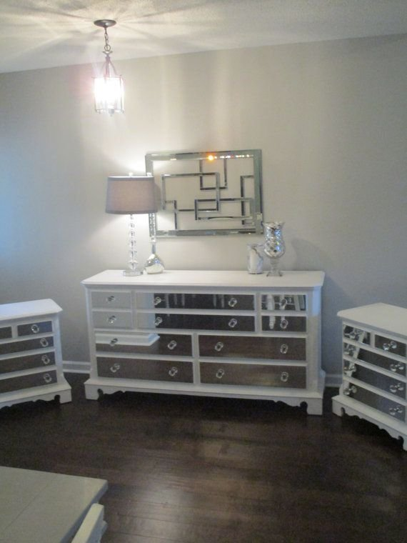 Best Mirrored Dresser And 2 Matching Nightstands Pure White With Pictures