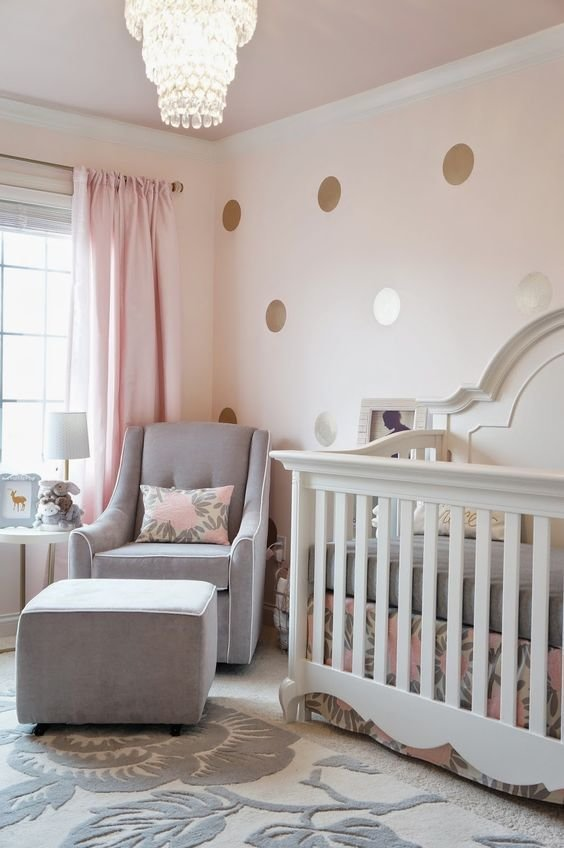 Best Pink Grey And Gold Glamorous Girl S Nursery With Pictures