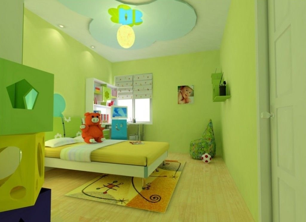 Best False Ceiling For Kids Room Interior With Green Color With Pictures
