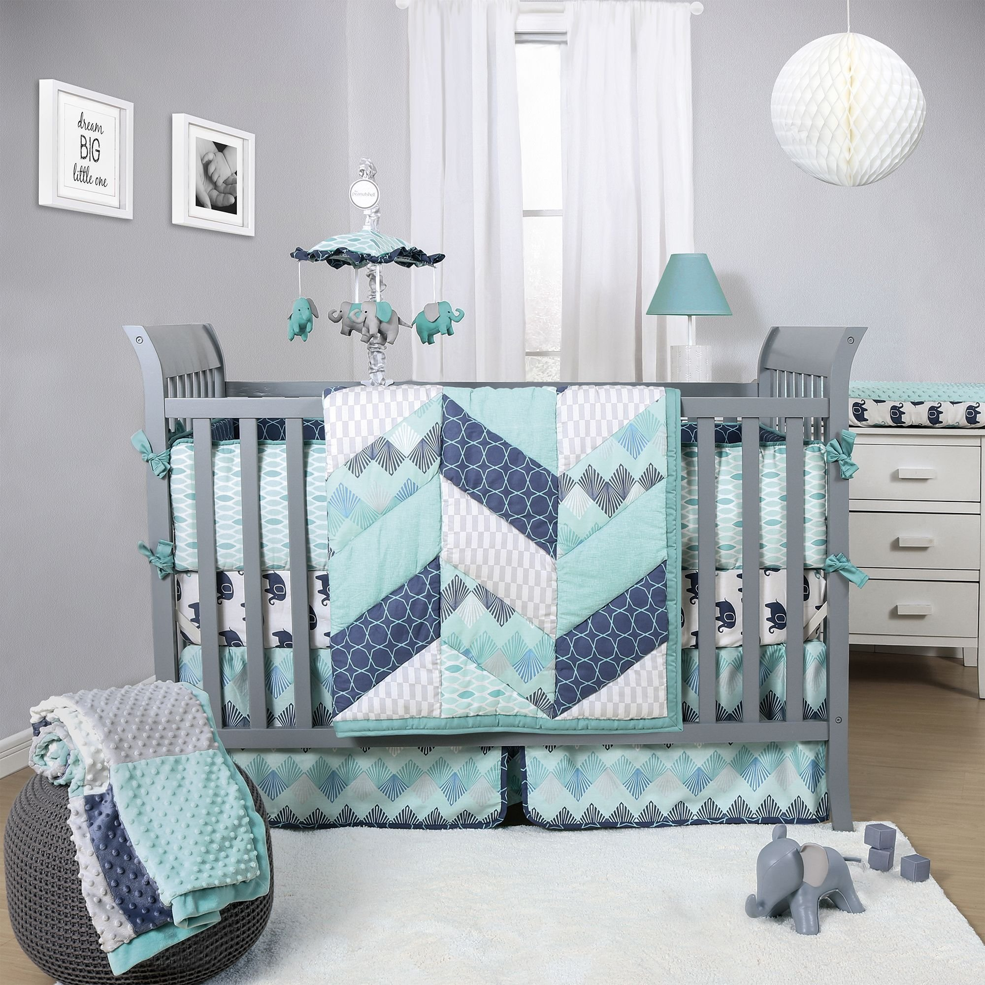 Best The Peanut Shell Mosaic 3 Piece Crib Bedding Set Features With Pictures