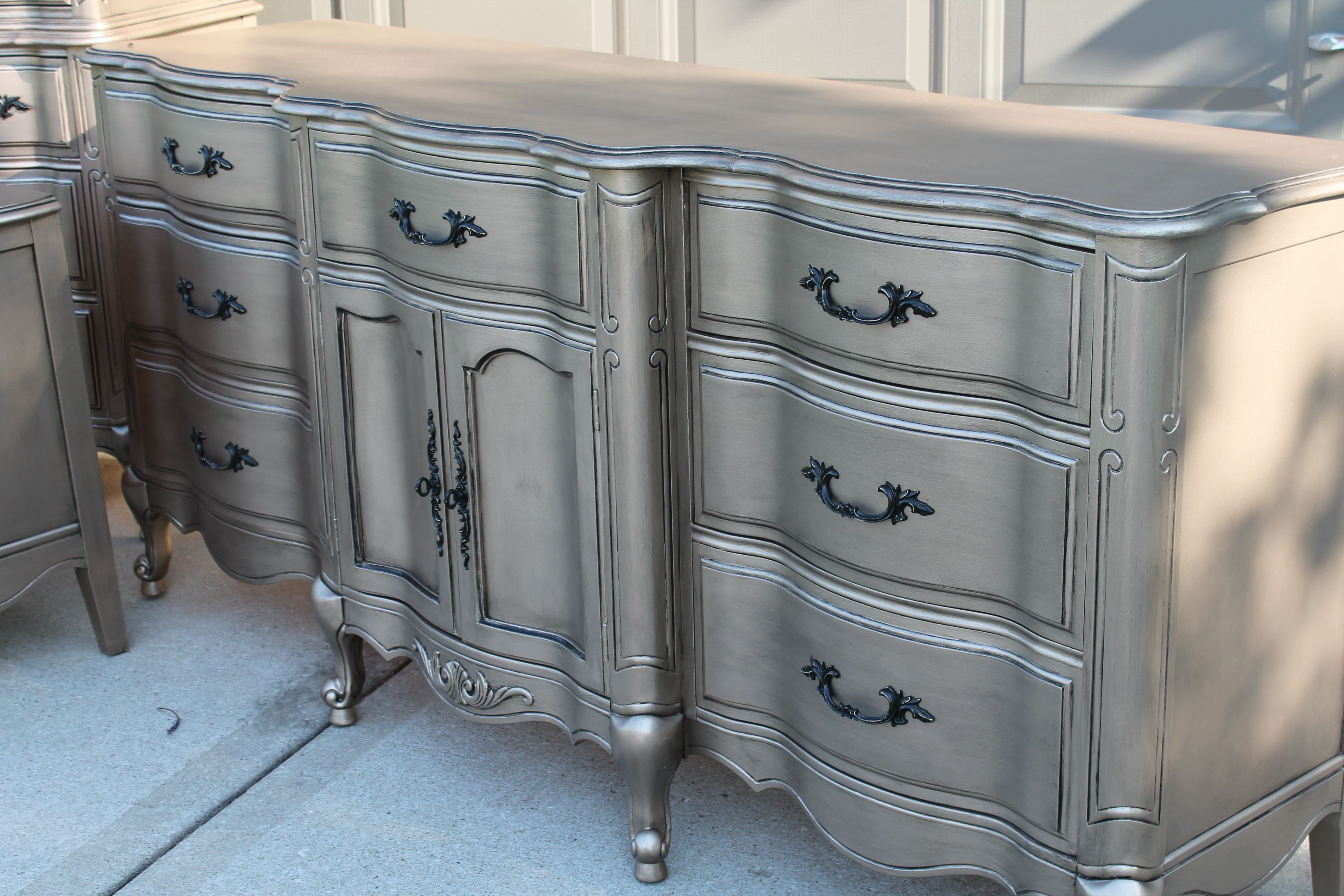 Best Aged Warm Silver Metallic Paint On Furniture Modern With Pictures