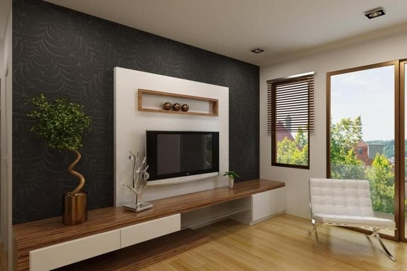 Best Elegant White Tv Cabinet With Contrast Wallpaper Ipc338 With Pictures