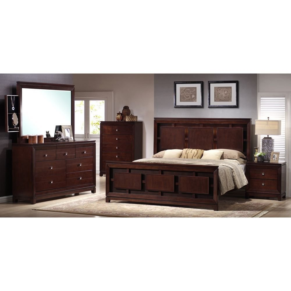 Best Lorrand 5 Piece Cherry Finish Bedroom Set Overstock Com With Pictures