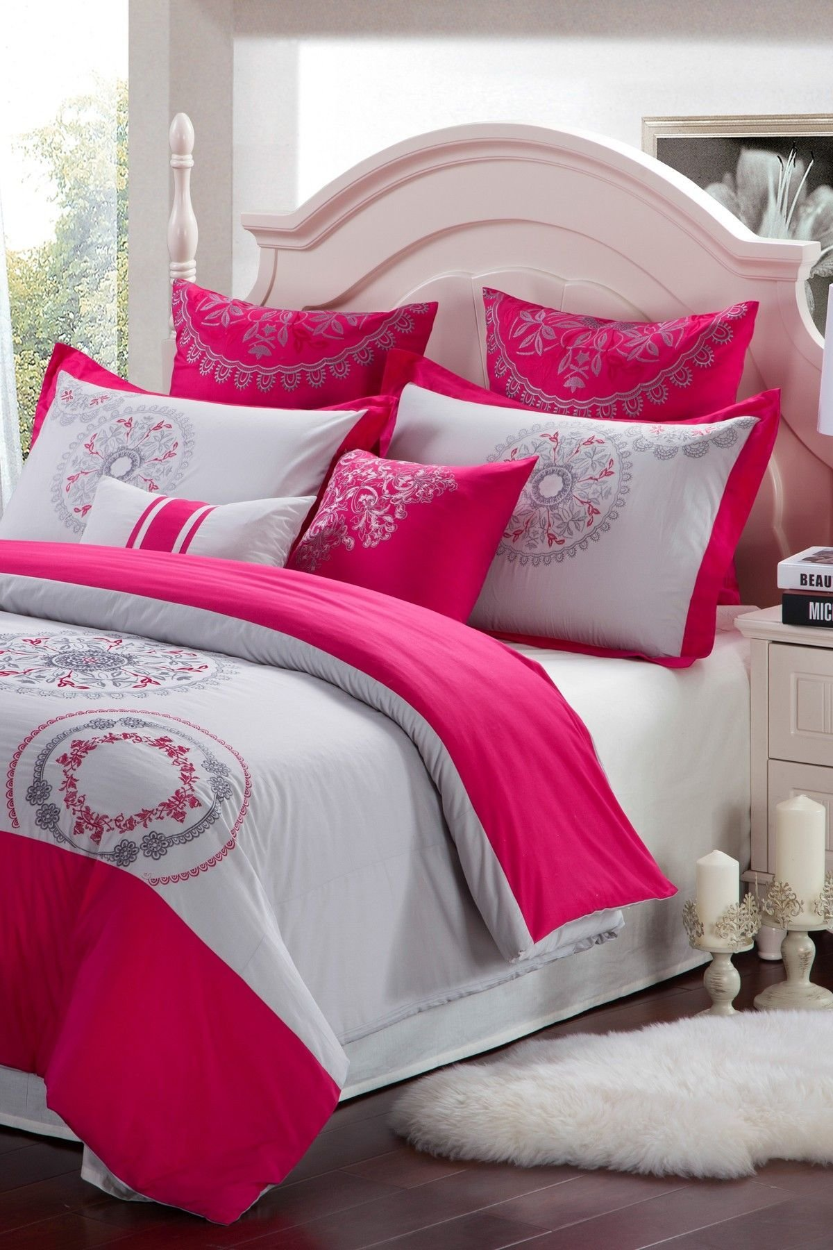 Best Majestic Cotton Duvet Cover Raspberry Grey On Hautelook With Pictures