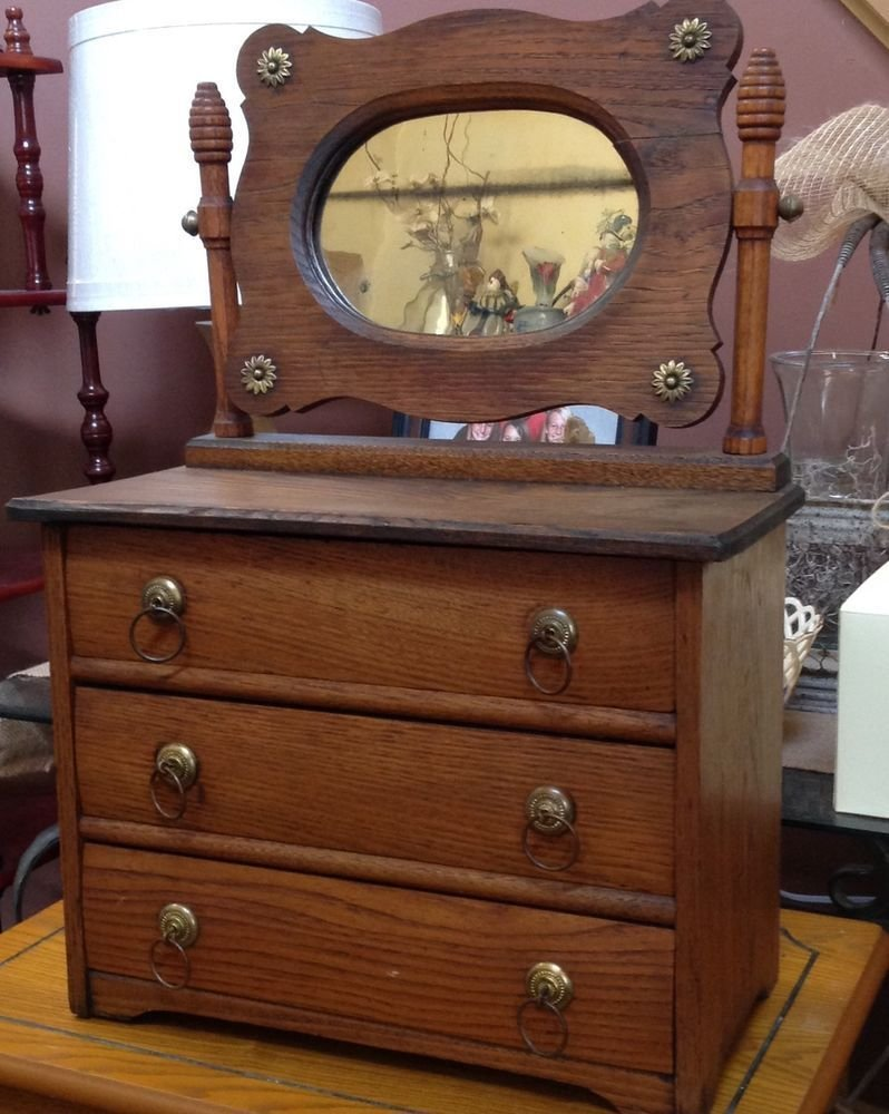 Best Antique Miniature Oak Dresser With Mirror Salesman With Pictures