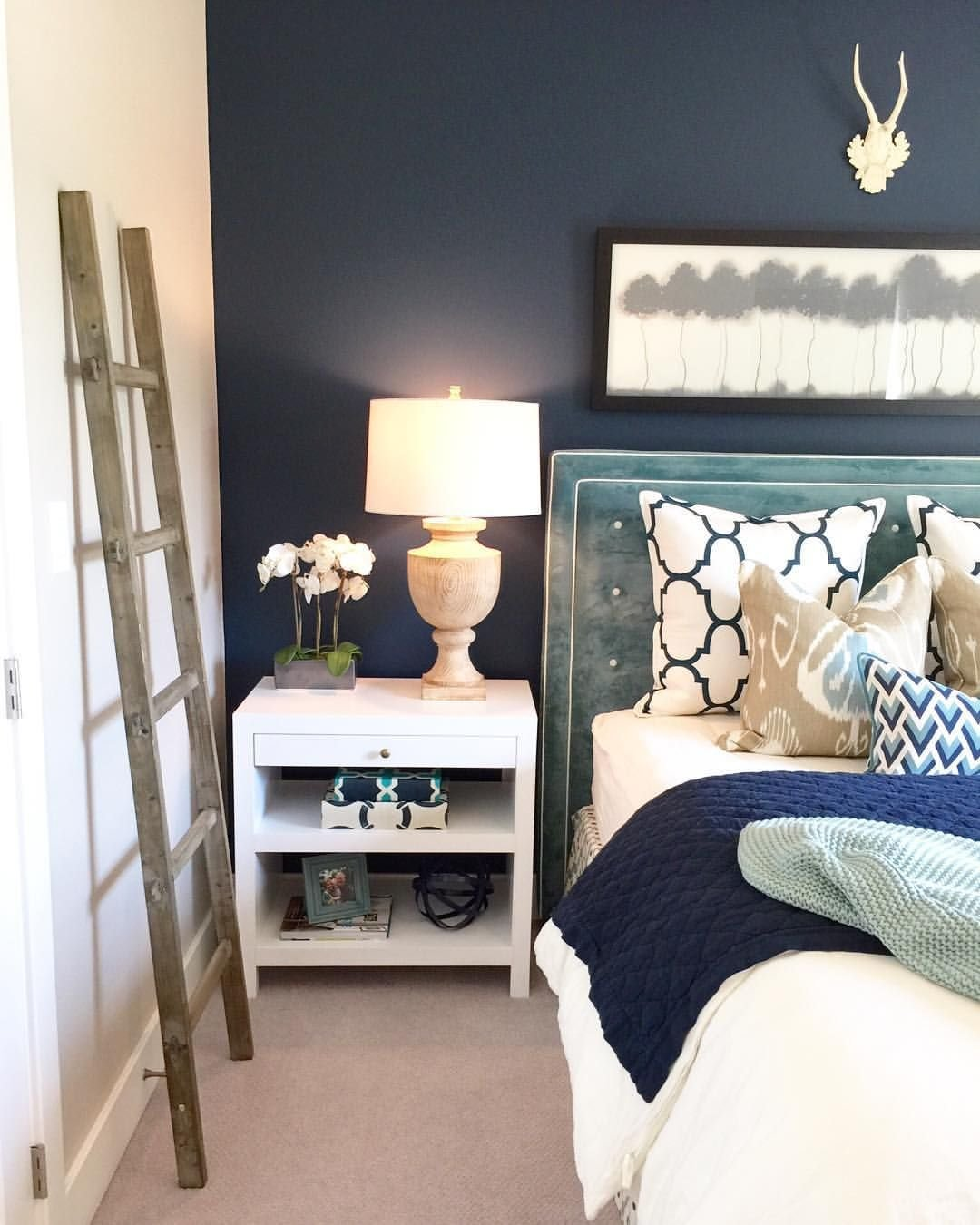 Best Bedroom With Dark Accent Wall Rustic Ladder Velvet Headboard Pattern Pillows Home Decor With Pictures