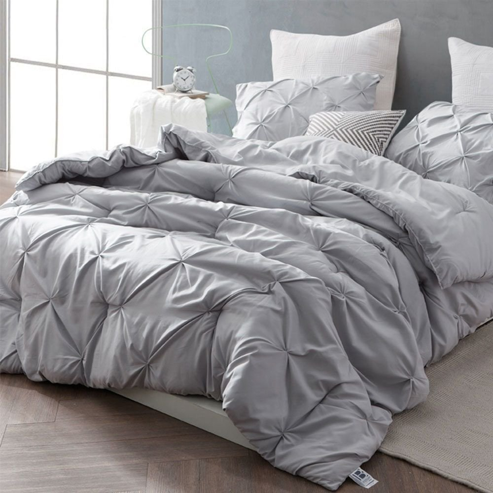 Best Byb Glacier Grey Pin Tuck Comforter Set Twin Xl Casual With Pictures