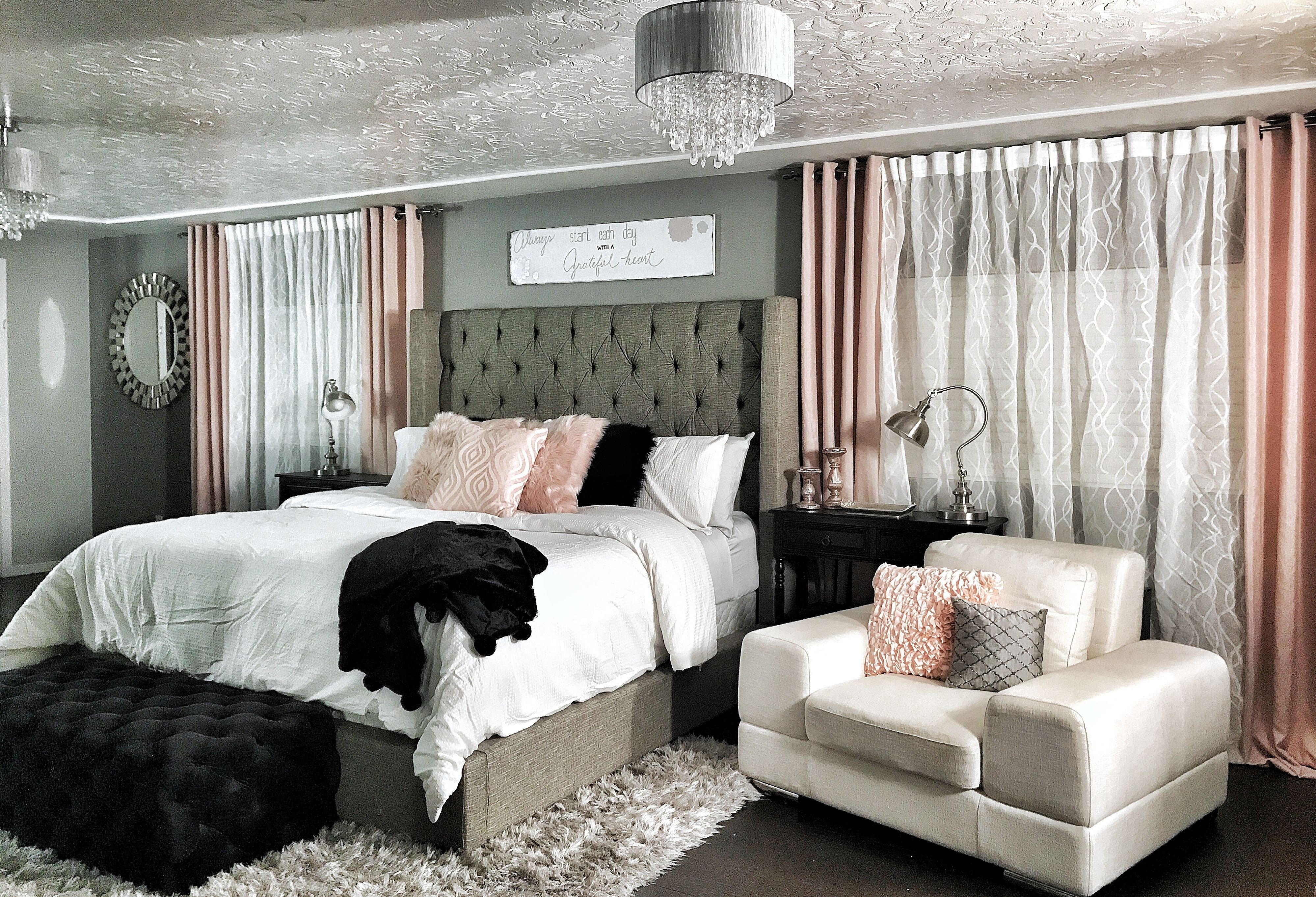 Best Master Bedroom Dramatic Wing Back Bed Champagne Rose With Pictures