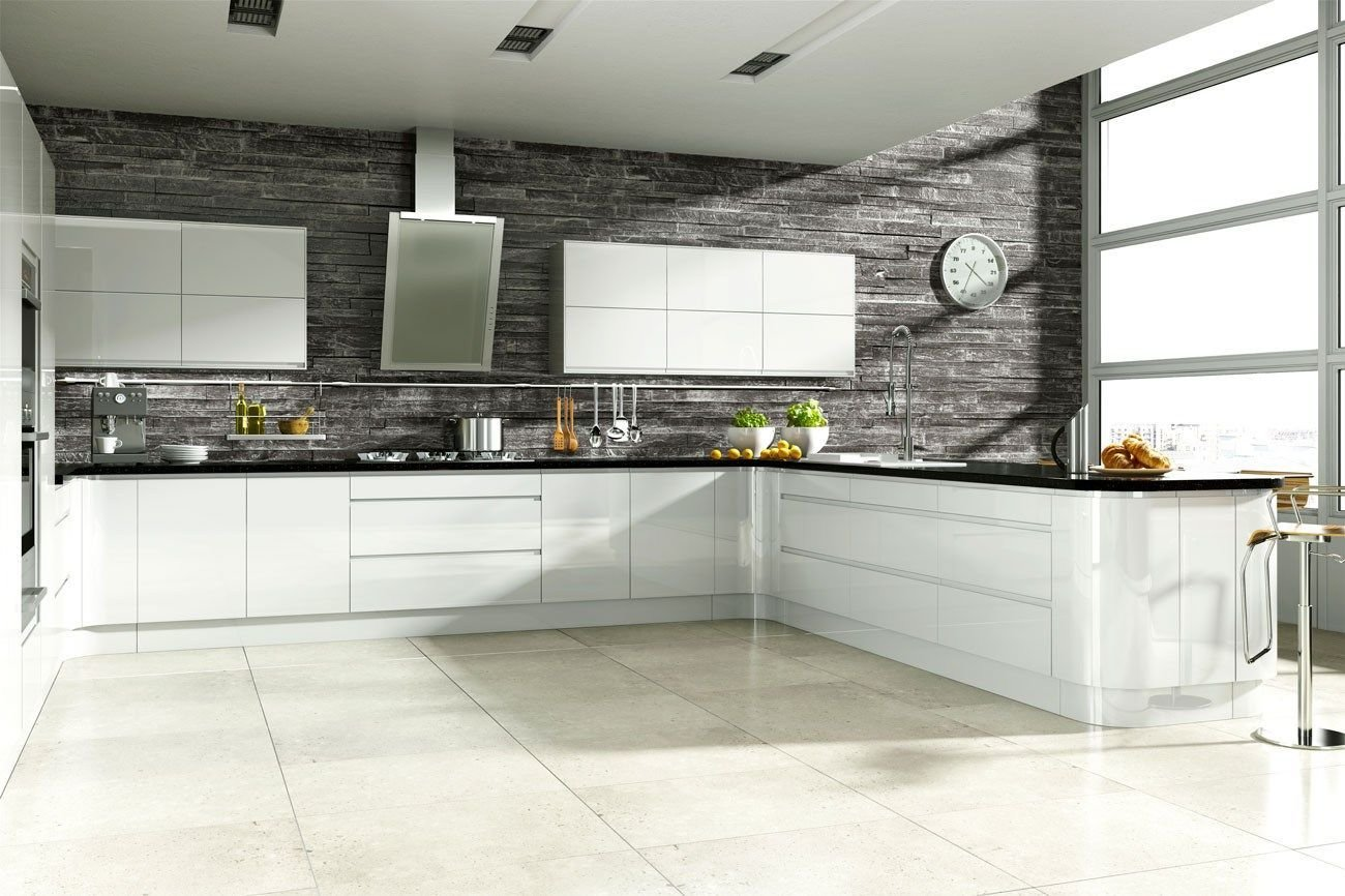 Best Linear Handleless White Hi Gloss Kitchen Fitted Kitchens With Pictures