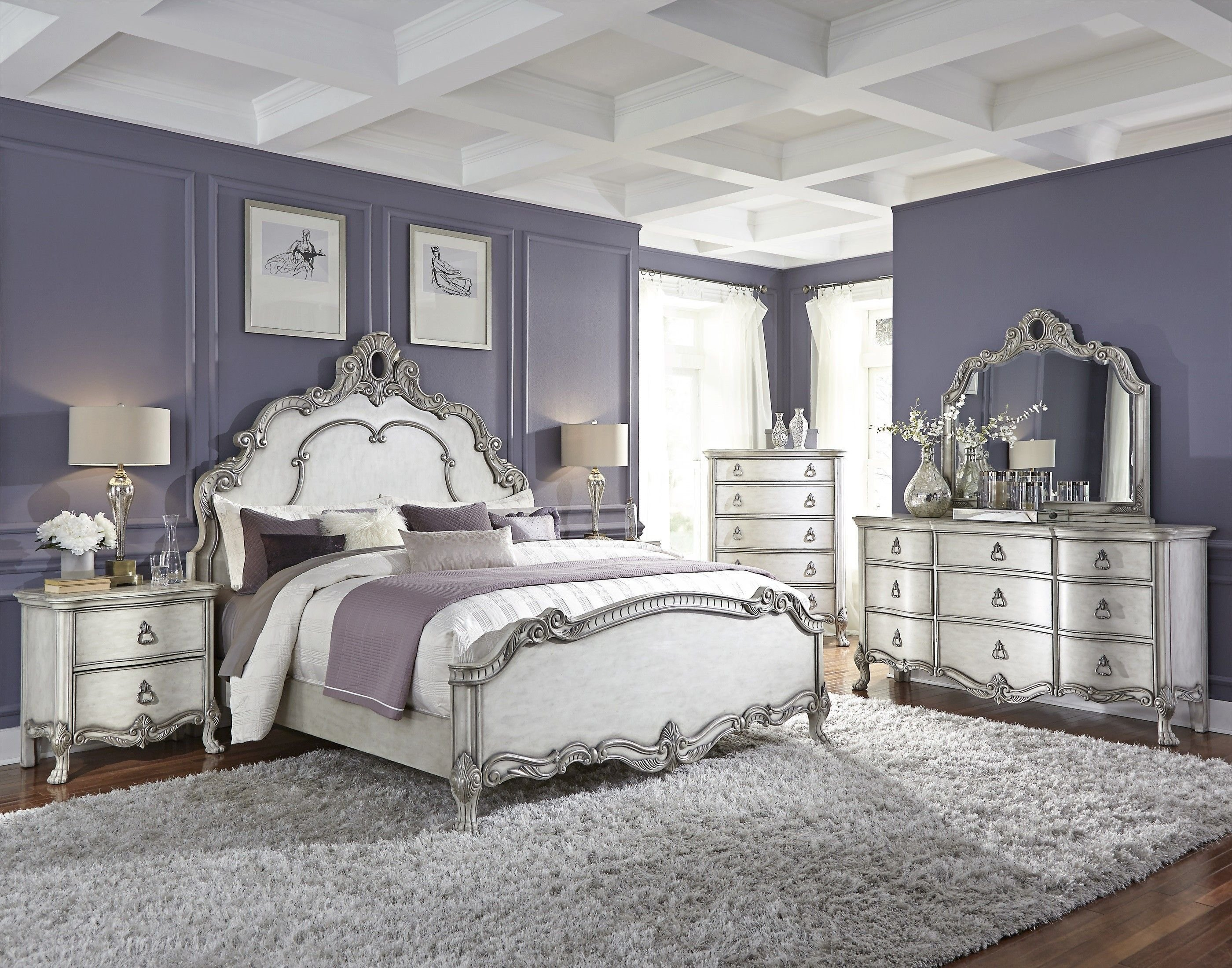 Best Traditional Antique White And Silver Bedroom Bedrooms Antique White Bedroom Furniture White With Pictures