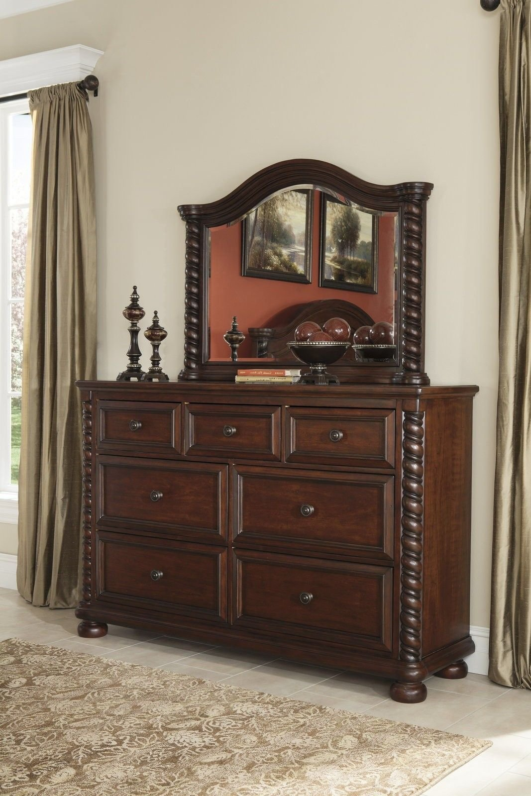 Best Ashley Brennville Seven Drawer Dresser In Brown Cherry With Pictures