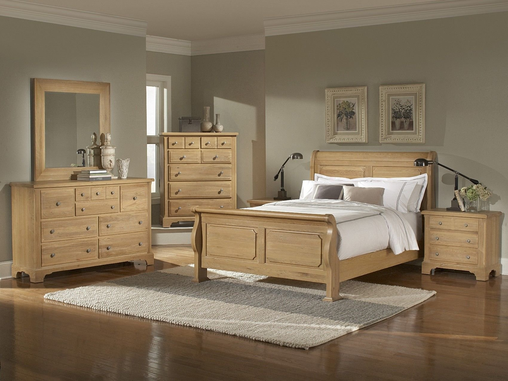 Best Oak Bedroom Furniture Sets Washed Oak Queen Sleigh With Pictures