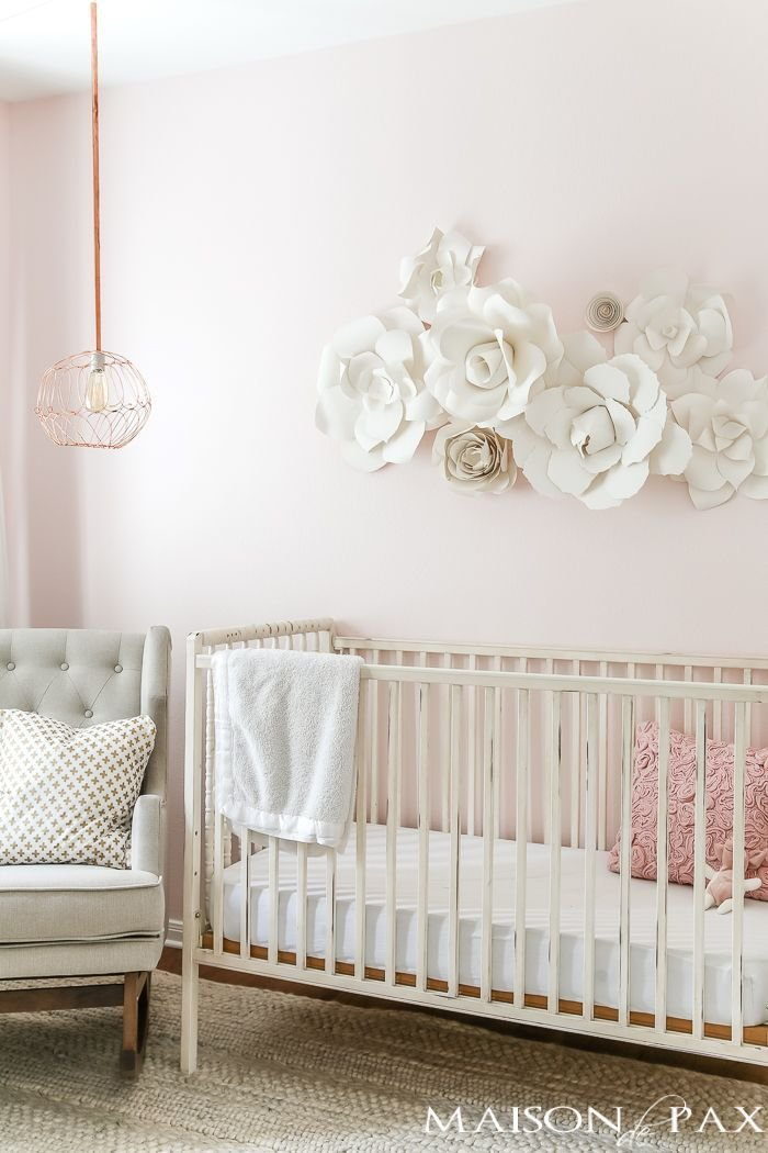 Best Paper Flower Wall Art In The Nursery Blogger Home With Pictures