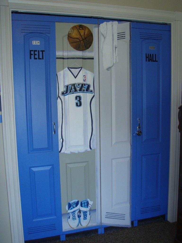 Best Closet Doors In A Sports Theme Bedroom Lockers Just Need With Pictures