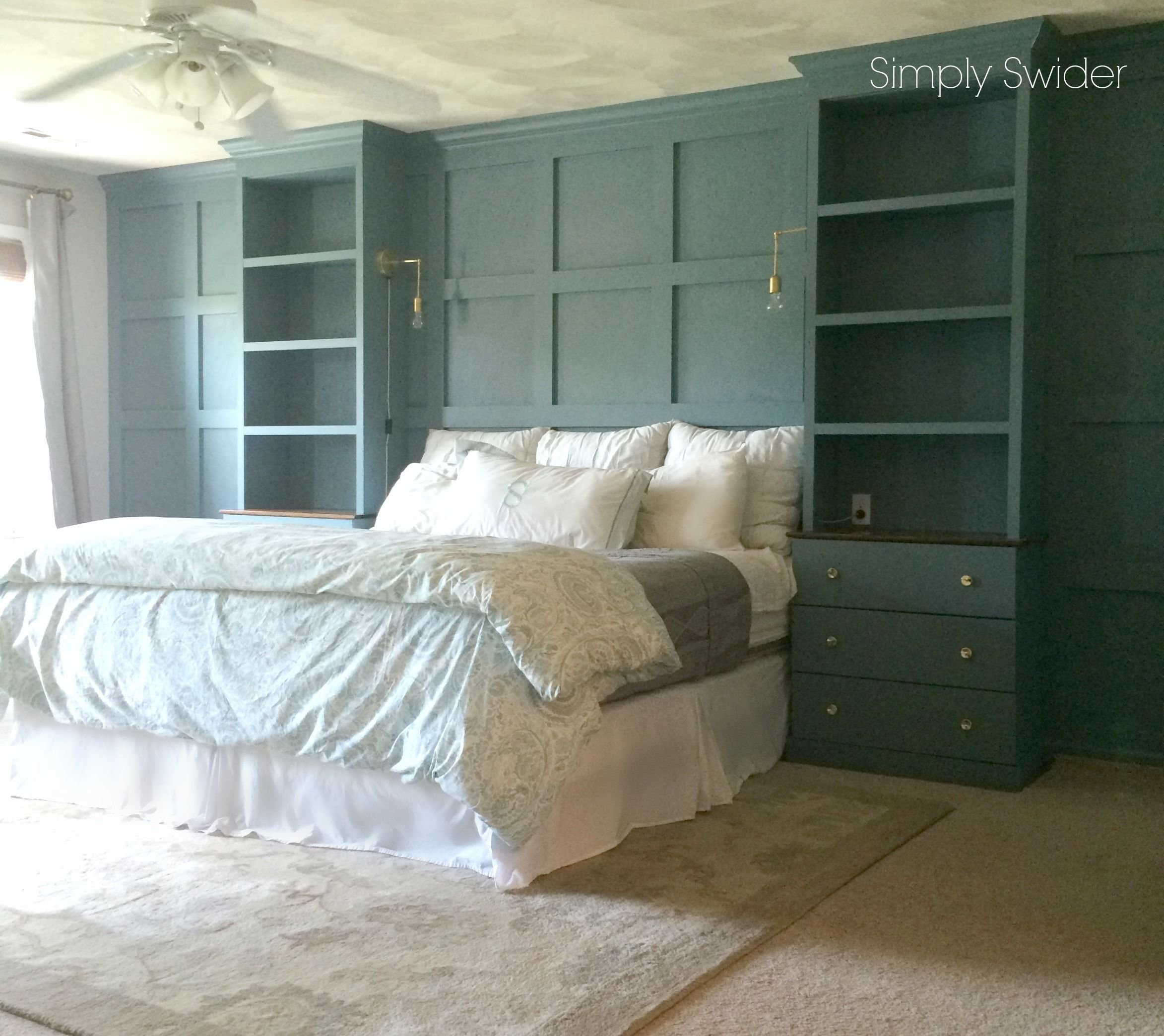 Best Diy Built Ins Using An Ikea Tarva Hack Around A Bed With Wainscoting I Love How All The Molding With Pictures