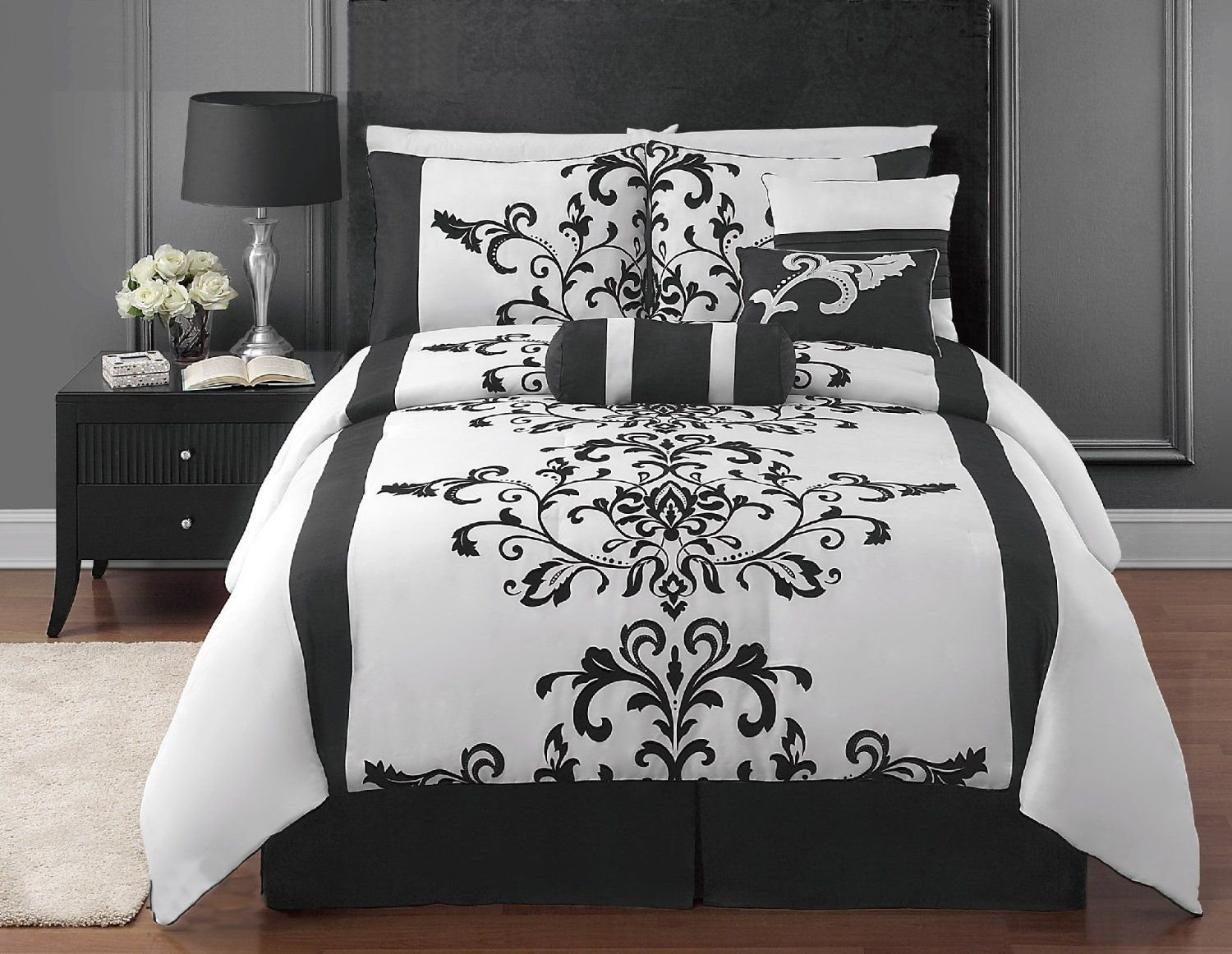 Best Amazon Com 7 Piece Black And White Flocking Comforter With Pictures