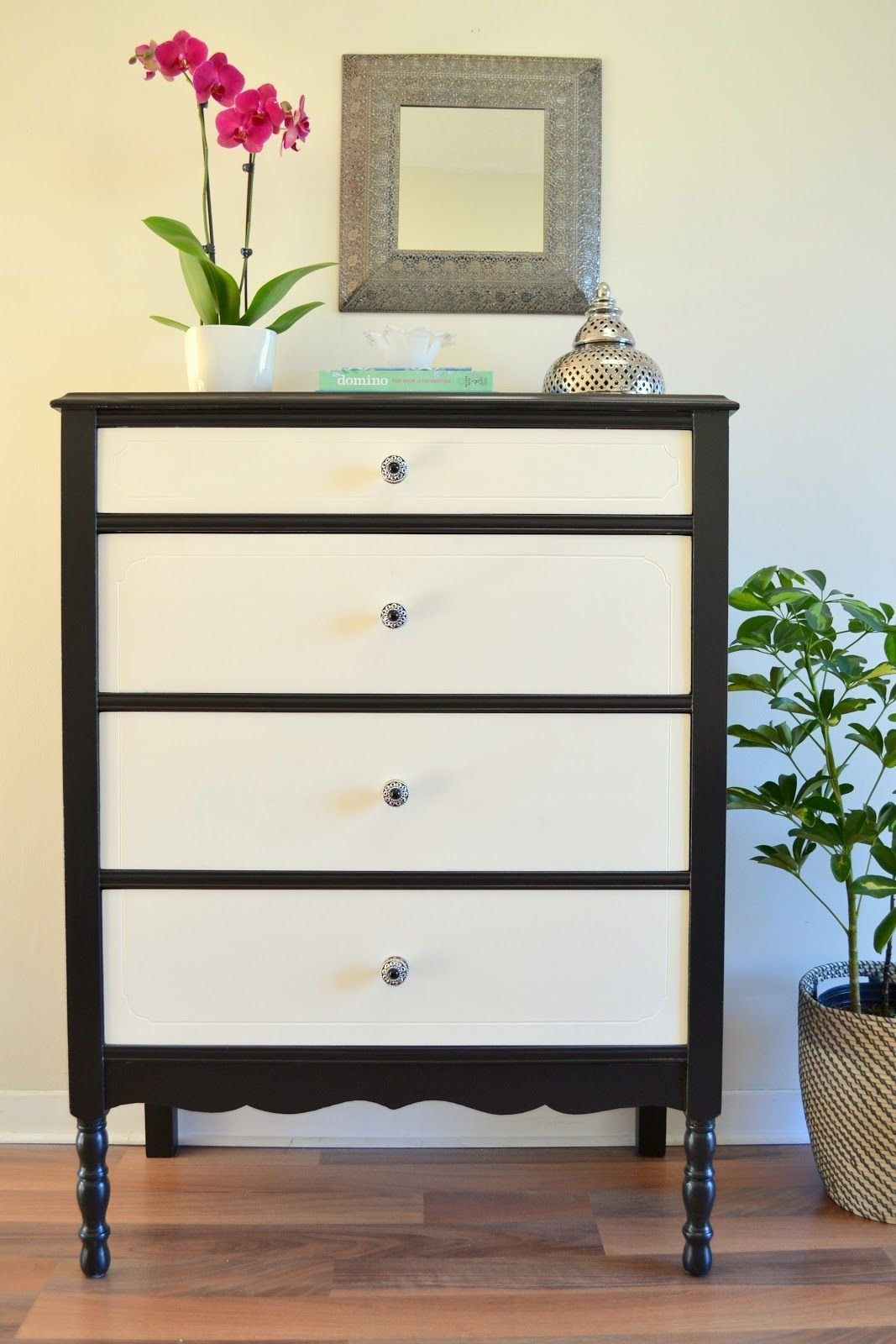 Best Black And White Dresser Black Body White Drawers With Pictures