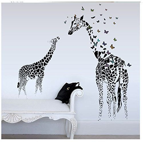 Best Yufeng Butterfly Giraffe Wallpaper Decor Decal For Nursery Room Wall Art Childrens Sticker Art With Pictures