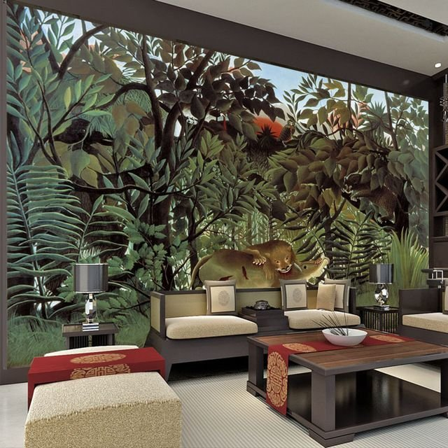 Best Rousseau Jungle Painting Wallpaper Custom 3D Wall Murals With Pictures