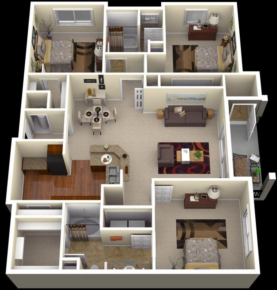 "Best 50 Three ""3"" Bedroom Apartment House Plans House Plane With Pictures"