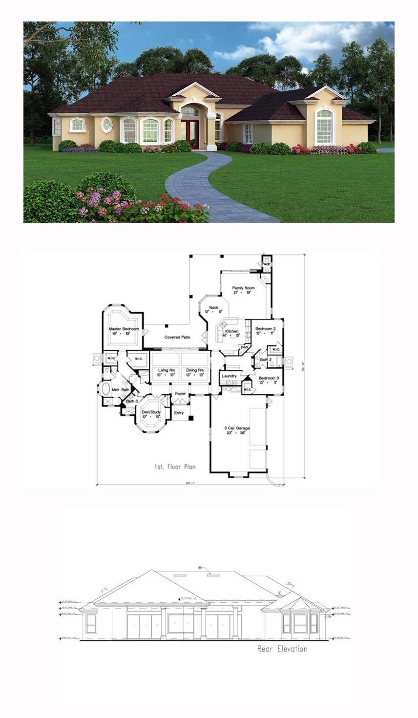 Best Tuscan House Plan 63380 Total Living Area 3147 Sq Ft With Pictures